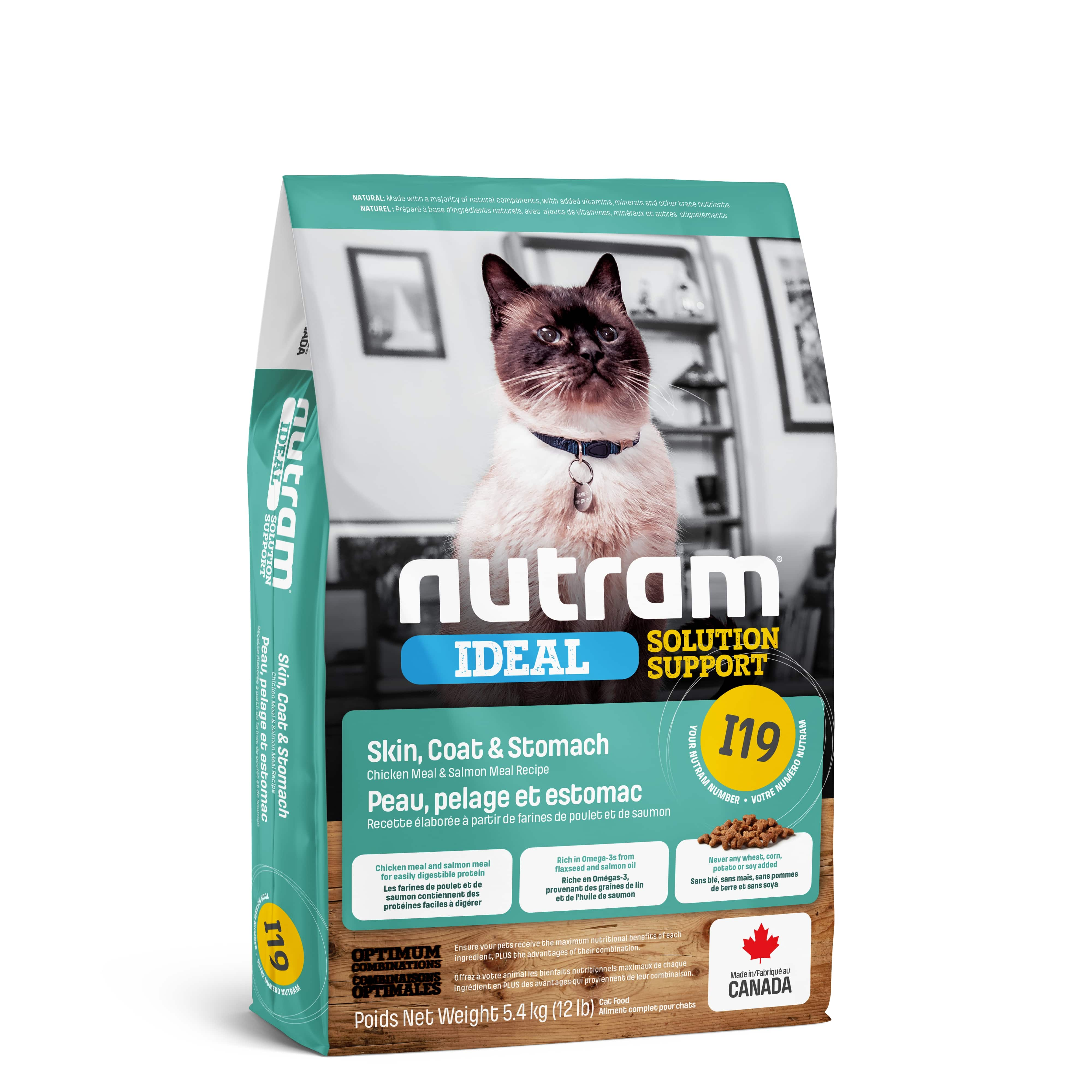 I19 Nutram Ideal Solution Support® Sensetive Coat, Skin, Stomach Cat Food